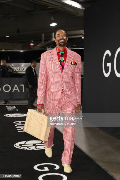 """Walter """"Clyde"""" Frazier arrives prior to a game against the New York Knicks and the Brooklyn Nets on December 26, 2019 at Barclays Center in Brooklyn,..."""