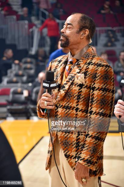 """Walter """"Clyde"""" Frazier commentates prior to a game between the New York Knicks and the Cleveland Cavaliers on February 3, 2020 at Rocket Mortgage..."""