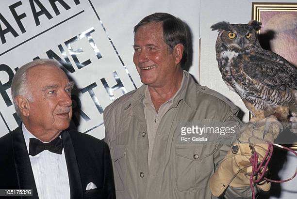 Walter Cronkite and Jim Fowler during African Fund For Endangered Wildlife Benefit at Roundabout Theater in New York City NY United States