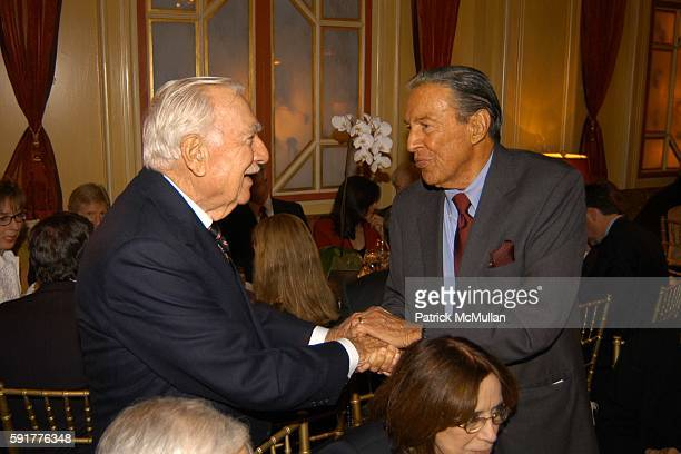 Walter Cronkite and Mike Wallace attend A Celebration of Mike Wallace's New Book 'Between You and Me' at Arabelle on October 25 2005 in New York City