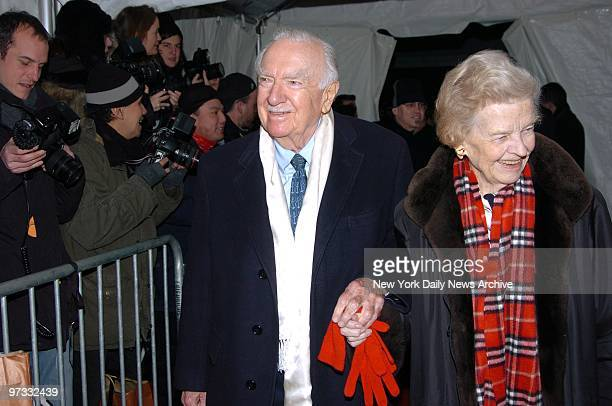 Walter Cronkite and wife Betsy arrive at the Ziegfeld Theater for a special screening to celebrate the 25th anniversary of Raging Bull the 1980 movie...
