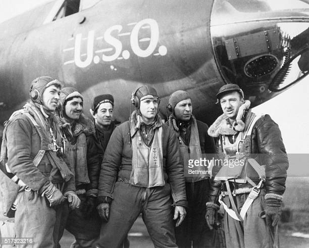 Walter Cronkite during his time as a war correspondent during WWII. Cronkite is standing in front of a Glenn Martin B-26 Martin Marauder,...