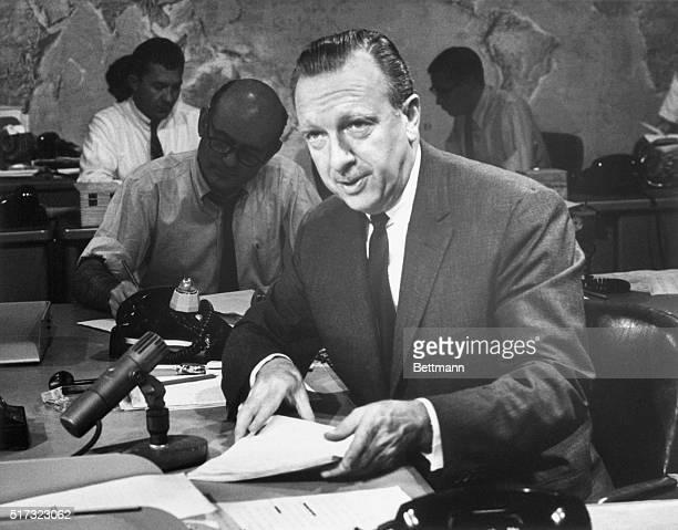 Walter Cronkite in CBS Studio. 8/7/1967