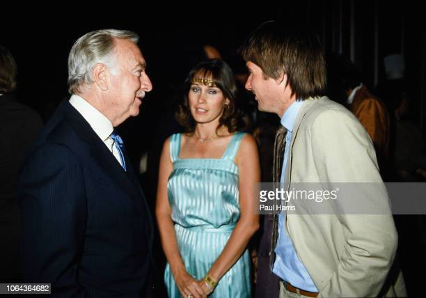 Walter Cronkite talks to Jimmy Connors attending the 11th Annual Alan King ProCelebrity Tennis Classic Party' on April 23 1982 at Caesars Palace in...