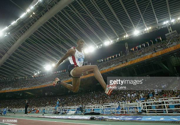 Walter Davis of USA competes in the men's triple jump final on August 22 2004 during the Athens 2004 Summer Olympic Games at the Olympic Stadium in...