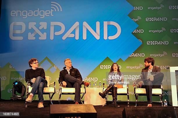 Walter De Brouwer, David Icke, Ariel Garten and Michael Gorman speak at the What's Next panel at Engadget Expand - Day 1 at Fort Mason Center on...