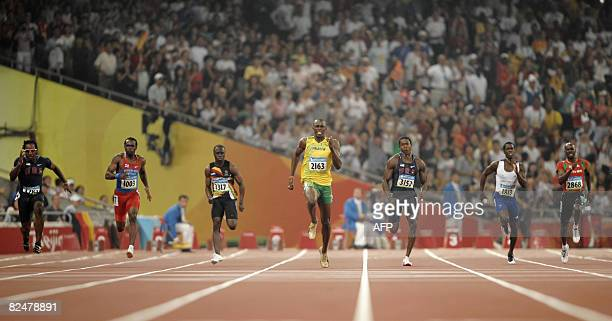 Walter Dix of the US Netherlands Antilles' Churandy Martina Zimbabwe's Brian Dzingai Jamaica's Usain Bolt Wallace Spearmon of the US Britain's...