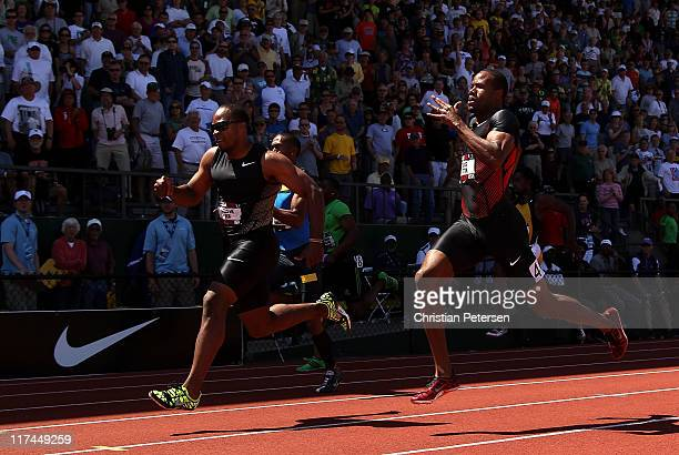 Walter Dix runs ahead of Darvis Patton to win the Men's 200 meter dash final on day four of the USA Outdoor Track Field Championships at the Hayward...