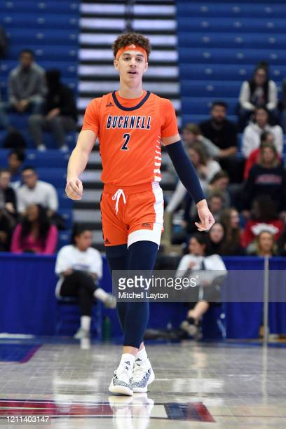 Walter Ellis of the Bucknell Bison looks on during a Patriot League Quarterfinal Basketball Tournament college basketball game against the American...