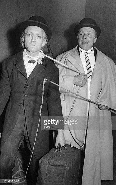 Walter Franck as Pozzo and Friedrich Maurer as Lucky in the German premiere of Samuel Beckett's play 'Waiting For Godot' at the Schlosspark Theater...