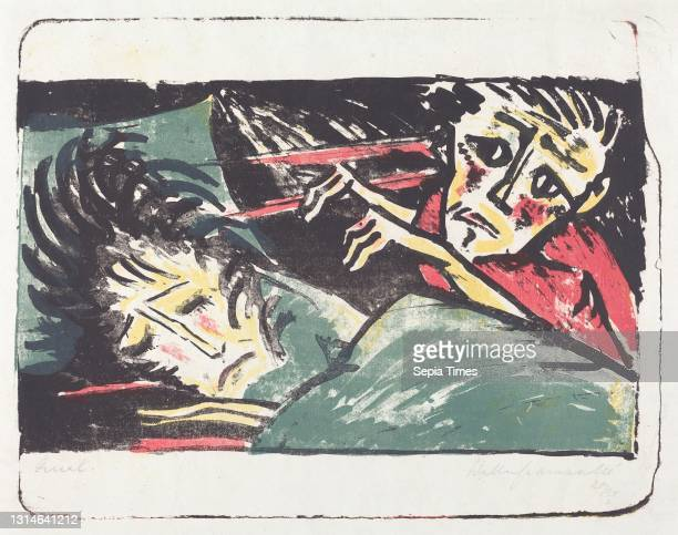 Walter Gramatté, , German, 1897 - 1929, Qual , 1920/1921, lithograph in black, yellow, red, and gray-green on blotting paper, image: 38 x 49.1 cm ,...