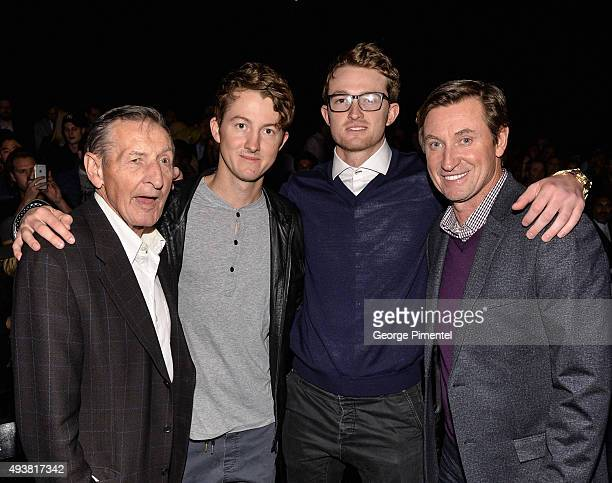 Walter Gretzky Ty Gretzky Trevor Gretzky and NHL Legend Wayne Gretzky attend the No 99 Wayne Gretzky 2016 Spring Collection presentation during World...