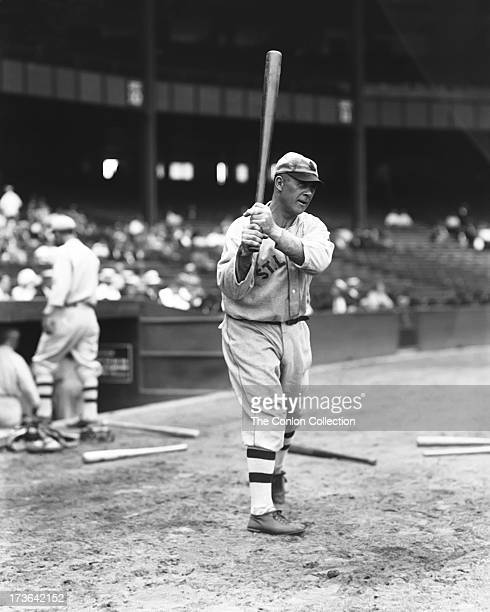 Walter H Schang of the St Louis Browns swinging a bat in 1927
