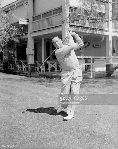 Walter Hagen poses his follow through during the 1934 Masters Tournament at Augusta National Golf Club in March 1934 in Augusta, Georgia.