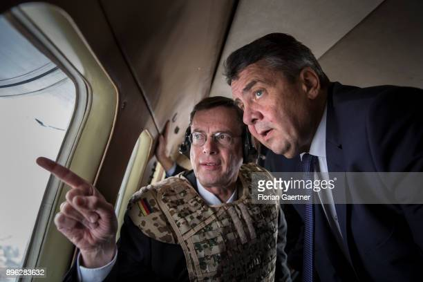 Walter Hassmann Ambassador of Germany in Afghanistan shows German Foreign Minister Sigmar Gabriel the destroyed embassy of Germany in Afghanistan...