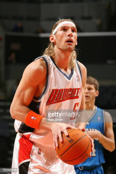 Walter Herrmann of the Charlotte Bobcats prepares to shoot a free throw during a preseason game against the Orlando Magic at Charlotte Bobcats Arena...