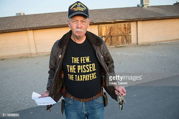 Walter Hogan poses for a portrait after participating in the Republican caucus at the Churchill County Fairgrounds on February 23 2016 in Fallon...