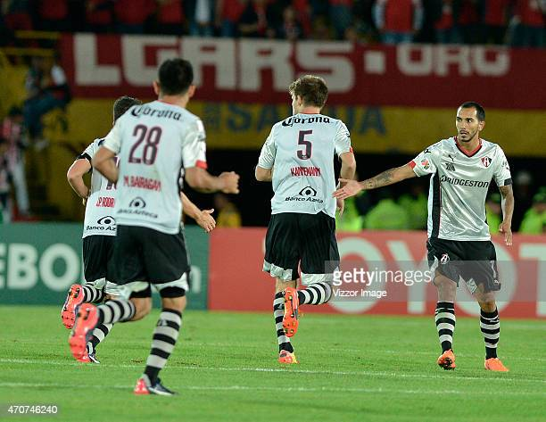 Walter Kannemann of Atlas celebrates after scoring a goal during a group 1 match between Santa Fe and Atlas as part of stage group of Copa Santander...