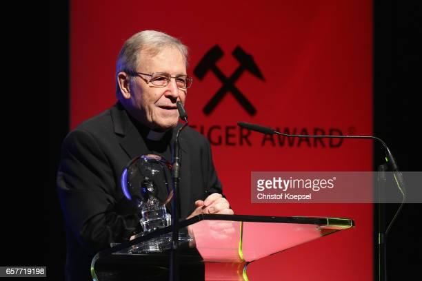 Walter Kardinal Kasper speaks after winning the tolerance award during the Steiger Award on at Coal Mine Hansemann Alte Kaue March 25 2017 in...