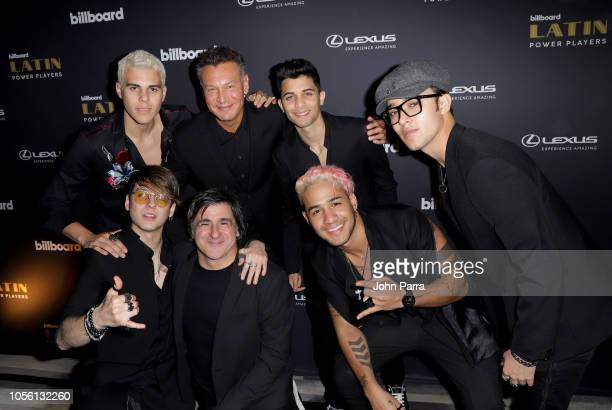 Walter Kolm founder/president WK Entertainment Afo Verde Chairman/CEO Sony Music Latin Iberia and recording artists CNCO attend Billboard 2018 Latin...