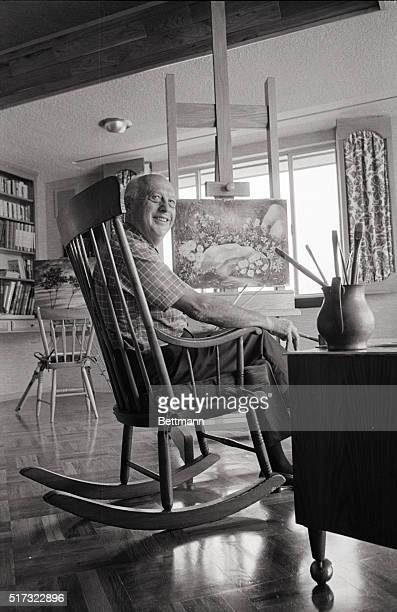 Walter Lantz has a large studio in his new home. While painting, he likes to use a rocking chair. Lantz says that the rocker makes it easy for a...