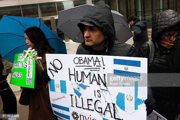 Walter Leao protests outside of the Immigrations and Customs Enforcement building on February 23 2016 in New York City Leao and other protestors were...