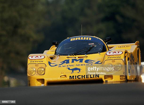 Walter Lechner of Austria drives the Camel Brun Motorsport Porsche 962C during practice for the FIA World Sportscar Championship 24 Hours of Le Mans...