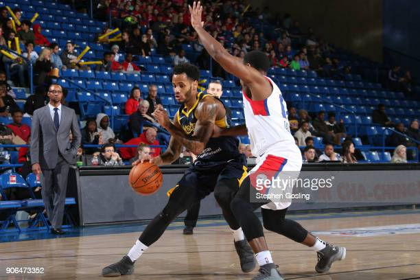 Walter Lemon Jr #15 of the Fort Wayne Mad Ants drives to the basket against the Delaware 87ers during a GLeague at the Bob Carpenter Center in Newark...