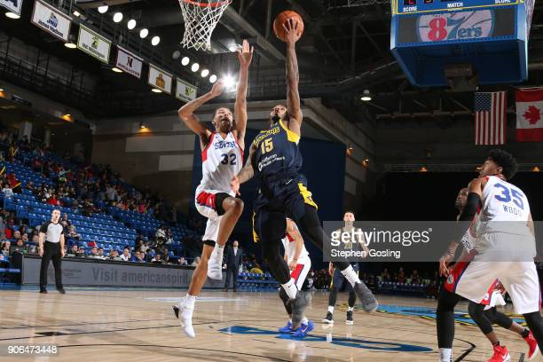 Walter Lemon Jr #15 of the Fort Wayne Mad Ants drives to the basket against the Fort Wayne Mad Ants during a GLeague at the Bob Carpenter Center in...