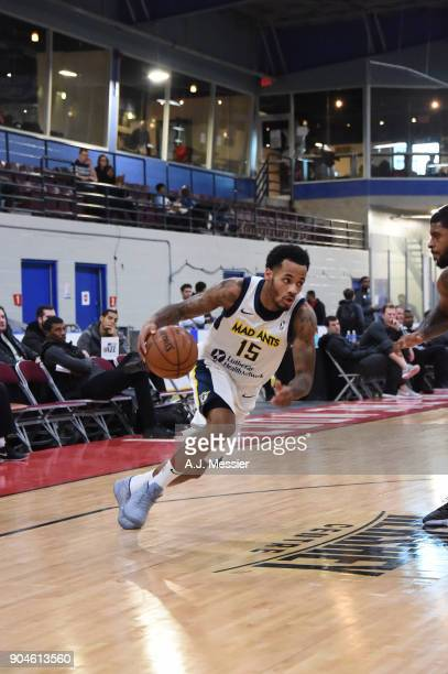 Walter Lemon Jr #15 of the Fort Wayne Mad Ants handles the ball during the NBA GLeague Showcase Game 23 between the Salt Lake City Stars and the Fort...