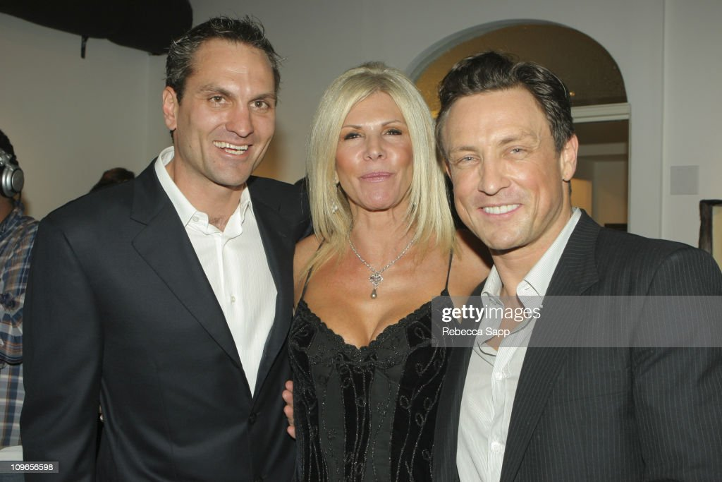 Walter Mayer, Karen Lynne and Dr. Randal Haworth during Dr. Randal Haworth Art Show at 216 N. Canyon Drive in Beverly Hills, California, United States.