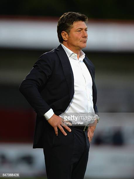 Walter Mazzari Manager of Watford looks on during the PreSeason Friendly match between Stevenage and Watford at The Lamex Stadium on July 14 2016 in...