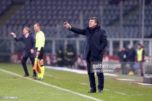 Walter Mazzarri head coach of Torino FC gestures during the Coppa Italia match between Torino Fc and Genoa Cfc Torino Fc wins 64 over Genoa Cfc after...