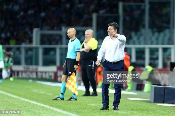 Walter Mazzarri head coach of Torino FC gestures during the UEFA Europa League third qualifying round football match between Torino Fc and Shakhtyor...