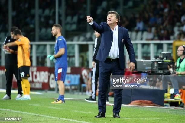 Walter Mazzarri head coach of Torino FC gestures during the UEFA Europa League playoff first leg football match between Torino Fc and Wolverhampton...