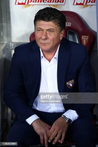 Walter Mazzarri head coach of Torino FC looks on before the UEFA Europa League third qualifying round football match between Torino FC and Shakhtyor...