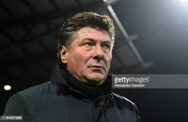 Walter Mazzarri head coach of Torino FC looks on during the Serie A match between US Sassuolo and Torino FC at Mapei Stadium Città  del Tricolore on...