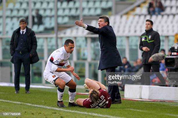 Walter Mazzarri head coach of Torino FC protests with the referee for a foul suffered by Ansaldi during the Serie A football match between Torino FC...