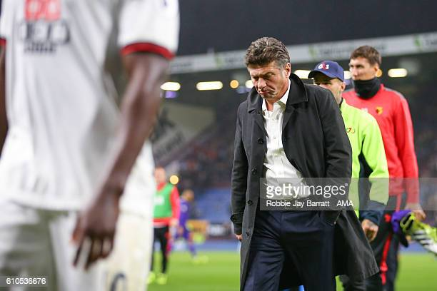 Walter Mazzarri manager / head coach of Watford dejected at full time during the Premier League match between Burnley and Watford at Turf Moor on...