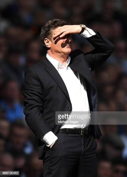 Walter Mazzarri Manager of Watfod looks on during the Premier League match between Tottenham Hotspur and Watford at White Hart Lane on April 8 2017...