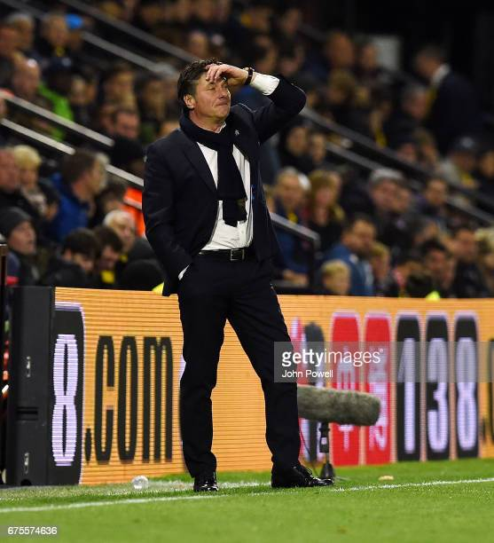 Walter Mazzarri manager of Watford during the Premier League match between Watford and Liverpool at Vicarage Road on May 1 2017 in Watford England