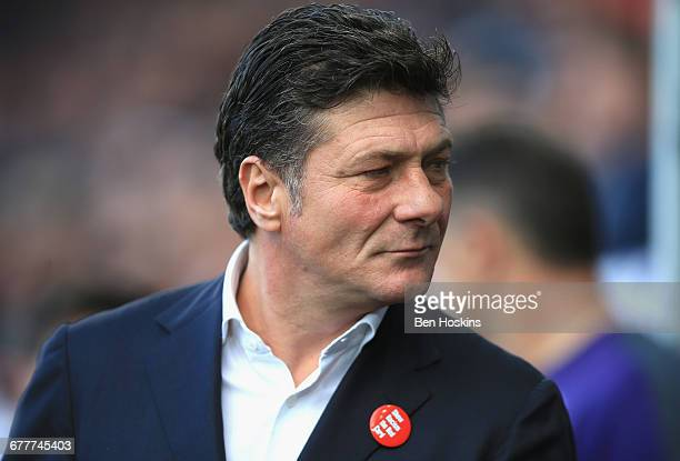Walter Mazzarri Manager of Watford looks on during the Premier League match between Swansea City and Watford at the Liberty Stadium on October 22...