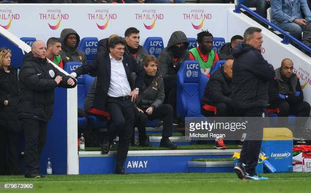 Walter Mazzarri Manager of Watford looks on during the Premier League match between Leicester City and Watford at The King Power Stadium on May 6...