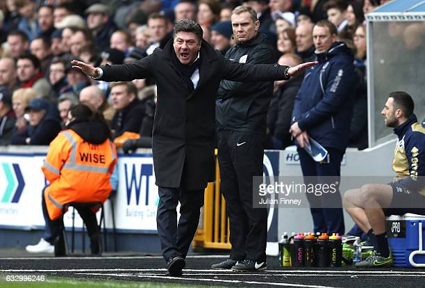 Walter Mazzarri Manager of Watford reacts during The Emirates FA Cup Fourth Round match between Millwall and Watford at The Den on January 29 2017 in...