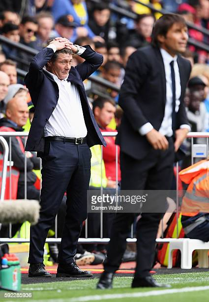 Walter Mazzarri Manager of Watford reacts during the Premier League match between Watford and Chelsea at Vicarage Road on August 20 2016 in Watford...