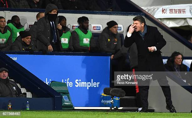 Walter Mazzarri Manager of Watford reacts during the Premier League match between West Bromwich Albion and Watford at The Hawthorns on December 3...