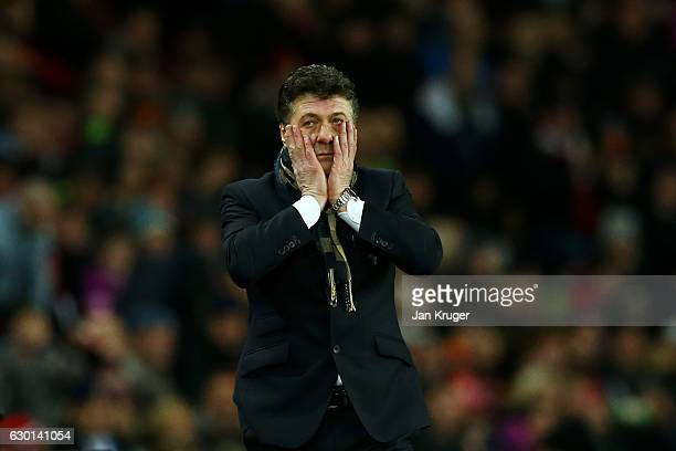 Walter Mazzarri Manager of Watford reacts during the Premier League match between Sunderland and Watford at Stadium of Light on December 17 2016 in...