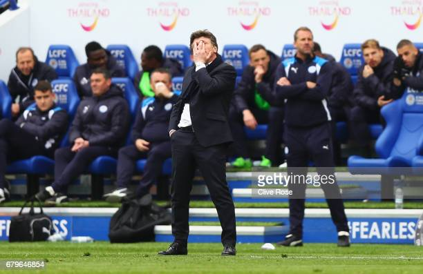 Walter Mazzarri Manager of Watford reacts during the Premier League match between Leicester City and Watford at The King Power Stadium on May 6 2017...