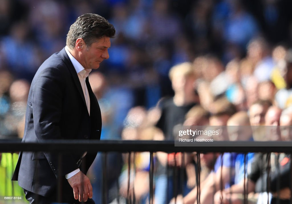 Walter Mazzarri, Manager of Watford reacts during the Premier League match between Watford and Manchester City at Vicarage Road on May 21, 2017 in Watford, England.