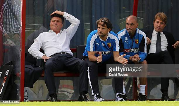 Walter Mazzarri the Watford manager looks on during the pre season friendly match between Woking and Watford at The Laithwaite Community Stadium on...